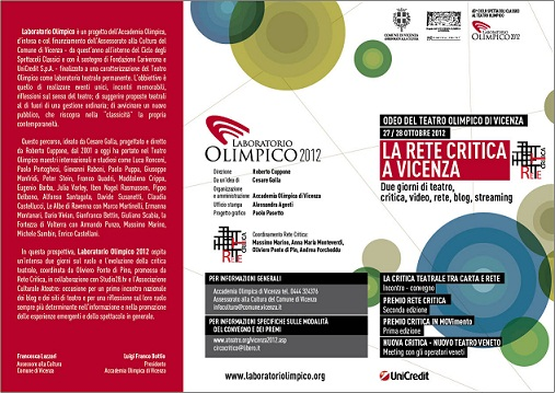 La Rete Critica si riunisce al Teatro Olimpico di Vicenza per discutere il suo  web-futuro