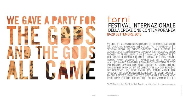 """Il Festival internazionale della creazione contemporanea di Terni invita gli """"dei"""" alla sua """"festa"""""""