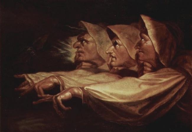 """Le tre streghe"""" (ispirate al Macbeth di W.S). dipinto di Füssli"""