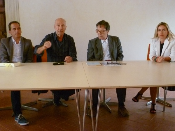 """Conferenza stampa """"La Passione. Il ritorno di un grande spettacolo"""", 25 agosto 2015. Da sinistra: A. Di Muzio, A. Calenda, W. Tortoreto, S. Malavolta (foto: Annalisa Ciuffetelli)"""