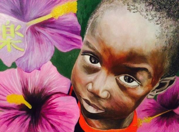 Ritratto di bimbo con fiori