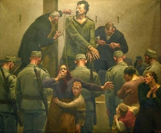 """Cesare Battisti nel dipinto di Augusto Colombo """"Il condannato"""""""