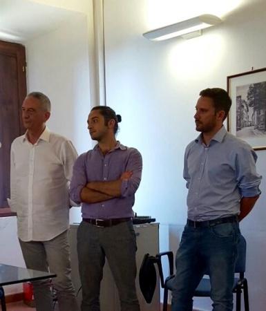 Premio Garrone Radicondoli. Maurizio Sguotti, Tommaso Bianco e l'asessore al turismo del Comune di Albenga