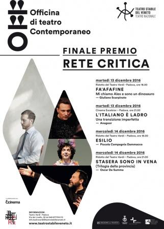 Finale del Premio Rete Critica al Teatro Stabile del Veneto di Padova