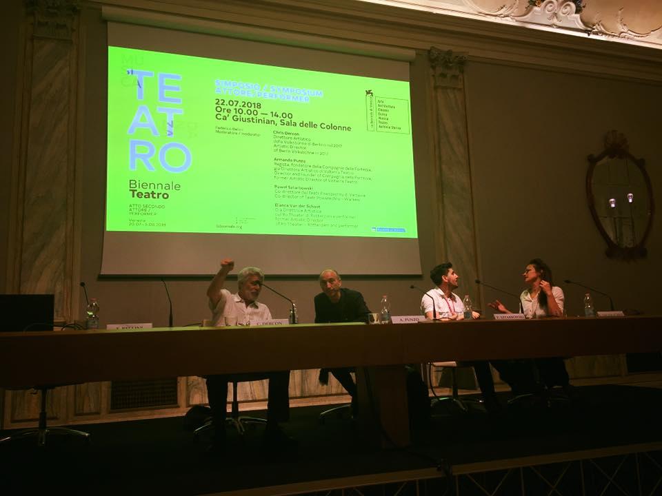 Simposio Attore Performer Chris Dercon, Chris Dercon, Armando Punzo, Pawel Sztarbowsky, Bianca Van der Shoot, @foto Biennale Venezia 2018