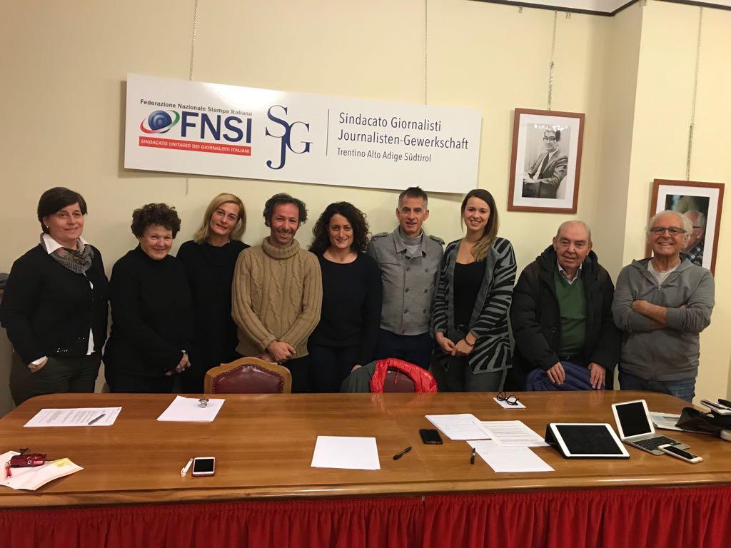 I componenti dell'Assostampa Sindacato Giornalisti di Bolzano