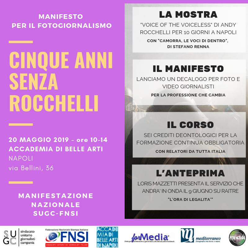 """Napoli: """"Cinque anni senza Rocchelli. Manifesto per il fotogiornalismo"""". SUGC e FNSI ricordano il fotoreporte Andrea Rocchelli"""