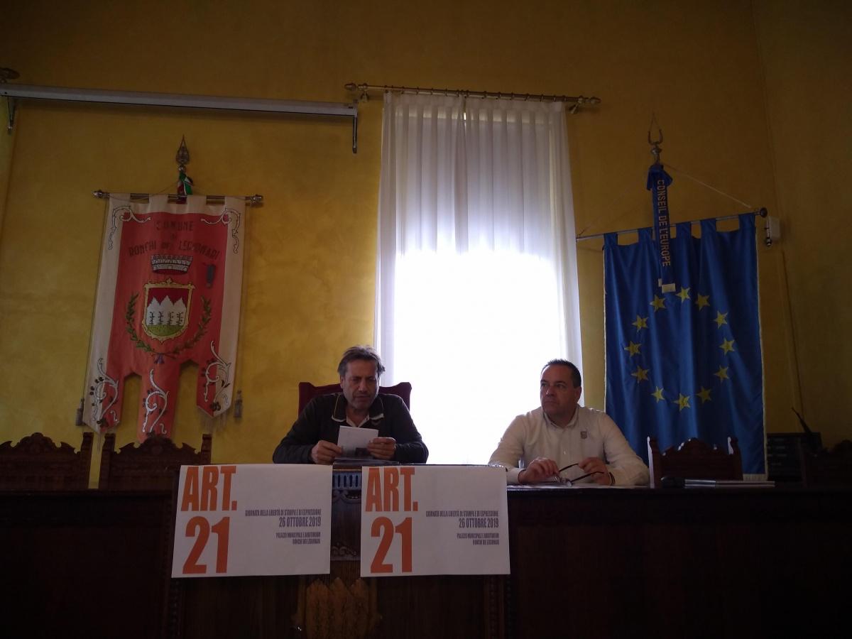 conferenza stampa Comune di Ronchi dei Legionari , Associazione culturale Leali delle Notizie presidente Luca Perrino  sindaco Lino Vecchiet